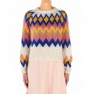 Maglione con motivo e paillettes multicolore