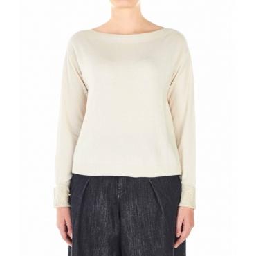 Maglione con polsini in strass bianco