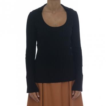 Maglia uomo - J1027 maglia coste con colletto 003 - Nero