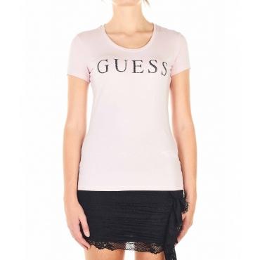 Maglietta con scritta logo rosa