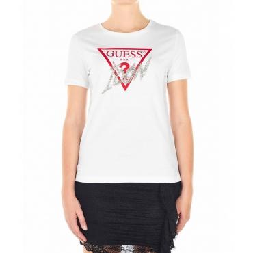 Maglietta con logo e applicazione di strass bianco