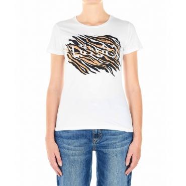 T-shirt con logo di strass e stampa animalier bianco