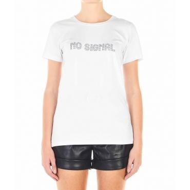Maglietta con slogan di strass bianco