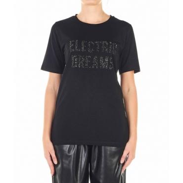Maglietta con slogan di strass nero