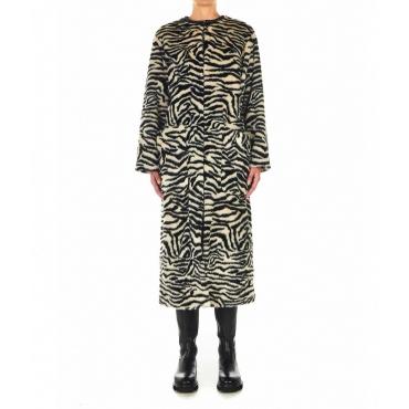 Cappotto lungo in eco-pelliccia Ammaniti beige