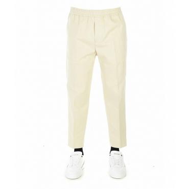 Pantaloni con elastico in vita avorio