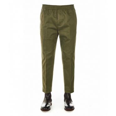 Pantaloni con elastico in vita verde scuro