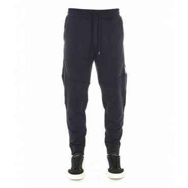 Pantalone jogging con cerniera diagonale nero