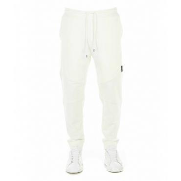 Pantalone jogging con cerniera diagonale bianco