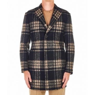 Cappotto di lana a quadri nero