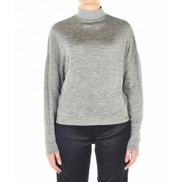 Camicia con dolcevita in finitura glitter grigio