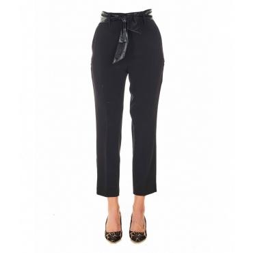 Pantaloni eleganti con cintura in vita nero