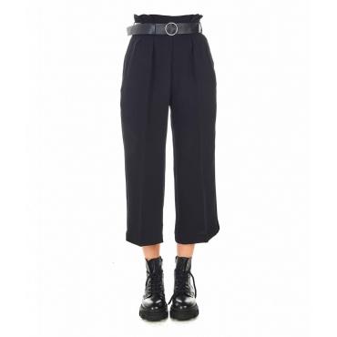 Pantalone elegante a pieghe nero