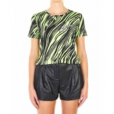 T-shirt cropped con stampa all-over fluor