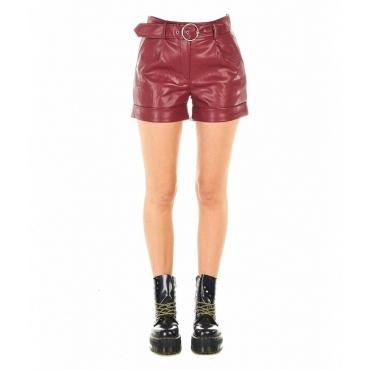 Pantaloncini Mallory in ecopelle rosso