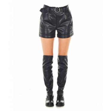 Pantaloncini Mallory in ecopelle nero