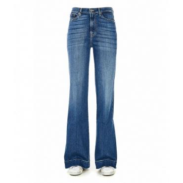 Jeans high rise flare blu