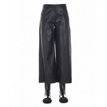 Pantaloni larghi in ecopelle nero