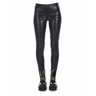 Pantaloni aspetto cuoio nero