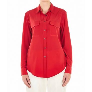 Camicetta in seta con taschini applicati rosso