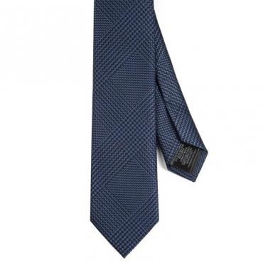 Cravatta in misto seta blu e nera
