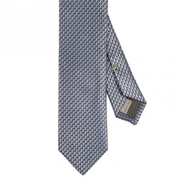 Cravatta in seta a trama geometrica blu