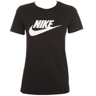 T-Shirt nera con logo centrale 010BLACK/WHI