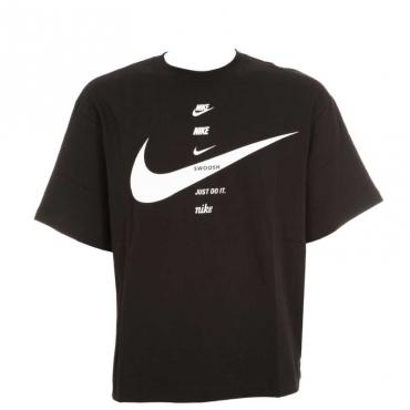 T-Shirt oversize multi slogan 010BLACK/WHI