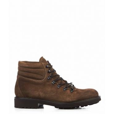 Stivali in pelle con allacciatura marrone