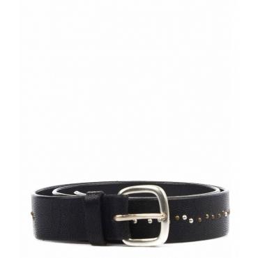 Cintura in pelle con borchie nero