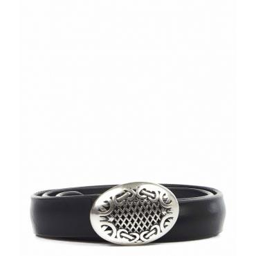 Cintura in pelle con fibbia nero