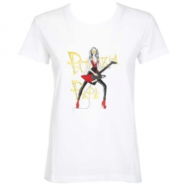 T-shirt con strass colorati XU29BIANCO/G