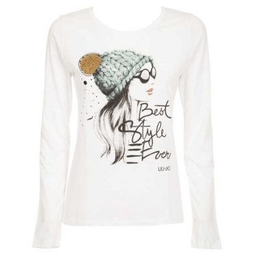 T-shirt con stampa e strass T9189BCOOTT