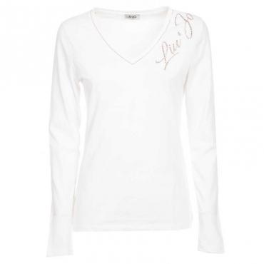 T-shirt con logo a strass 11111BIANCOO