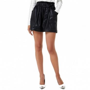 Shorts neri in eco-pelle 22222NERO