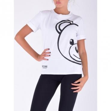 T-shirt orso con manica risvolto BIANCO