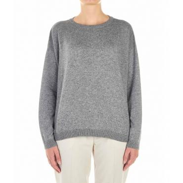 Maglione leggero con spacco grigio