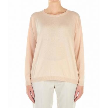 Maglione leggero con spacco rosa chiaro