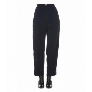 Pantaloni larghi in cordoncino di velluto nero