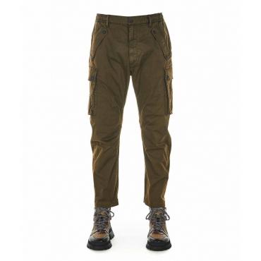 Pantaloni cargo con stampa logo verde scuro
