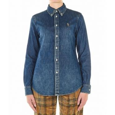 Camicia in jeans con ricamo logo blu scuro