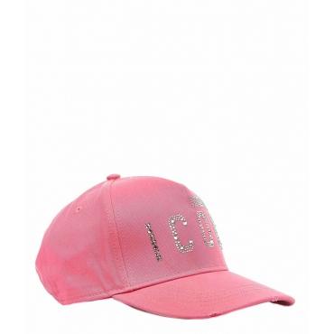 Cappellino da baseball con applicazione di strass rosa
