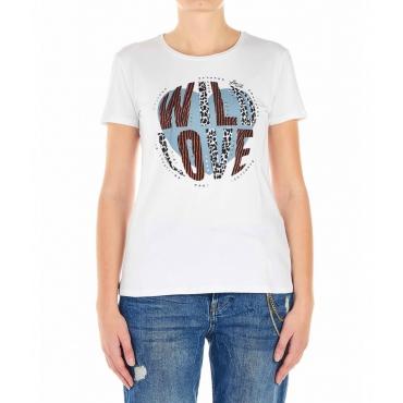 Maglietta con applicazioni decorative bianco