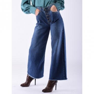 Jeans largo bottoni a vista DENIM MEDIO