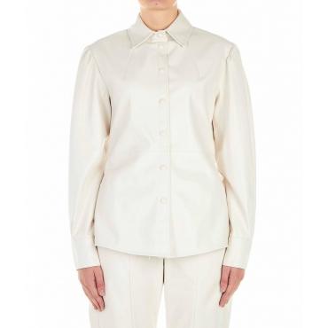 Blusa in ecopelle crema