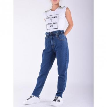 Jeans arriccio vita DENIM SCURO