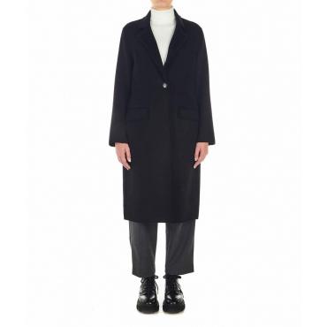Cappotto in lana con frange nero