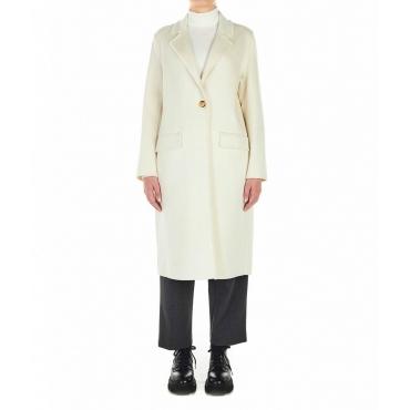 Cappotto in lana con frange crema