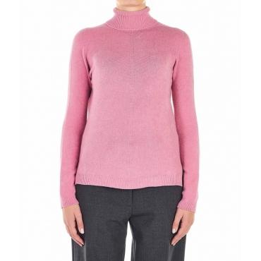 Pullover leggero a maglia rosa