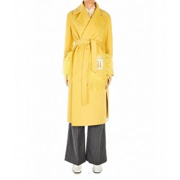 Cappotto di lana con dettagli in piuma giallo